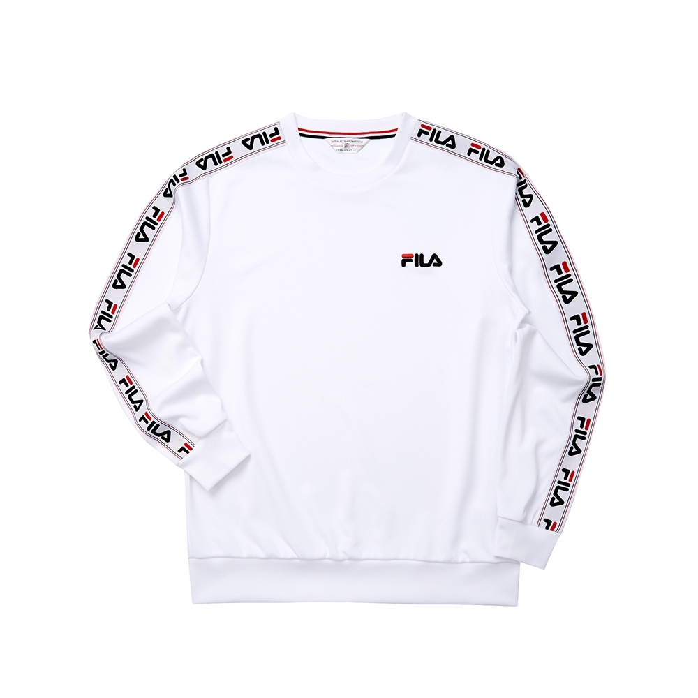 FILA 男長袖圓領T恤-白色 1TET-5449-WT
