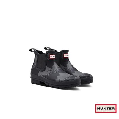 HUNTER - 男鞋-切爾西印花霧面踝靴 - 黑