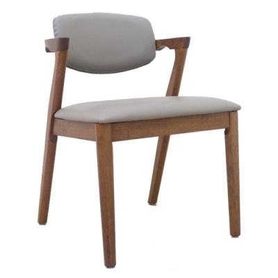 【AT HOME】日式鄉村淺胡桃灰皮實木餐椅/休閒椅(傑西)