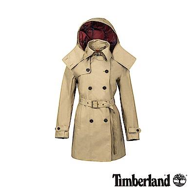 Timberland 女款卡其色防水雙排釦綁帶經典風衣|B3101