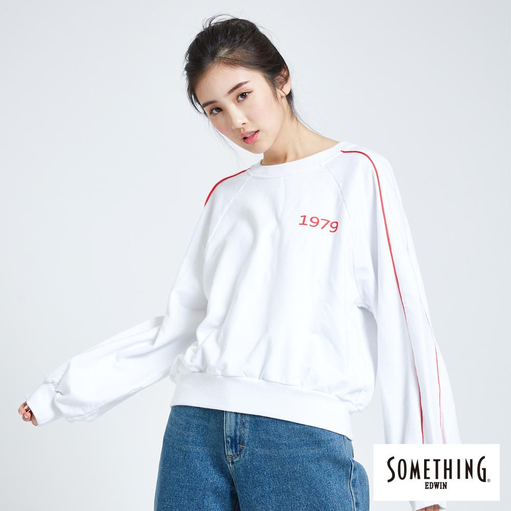 SOMETHING 青春高校運動風大學長袖T恤-女-白色