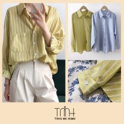 韓版細條紋長版襯衫-2色-TMH