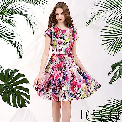JESSICA - 暈染時尚印花修身洋裝
