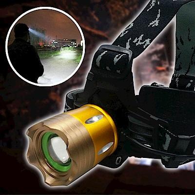 EZlife金色L2強光防身變焦頭燈套組(贈戰術側背包)