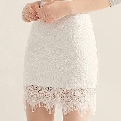 AIR SPACE 優雅女伶蕾絲窄短裙(白)
