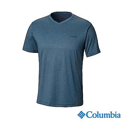 Columbia哥倫比亞 男款-UPF50快排短袖上衣-深藍 UAE06520NY