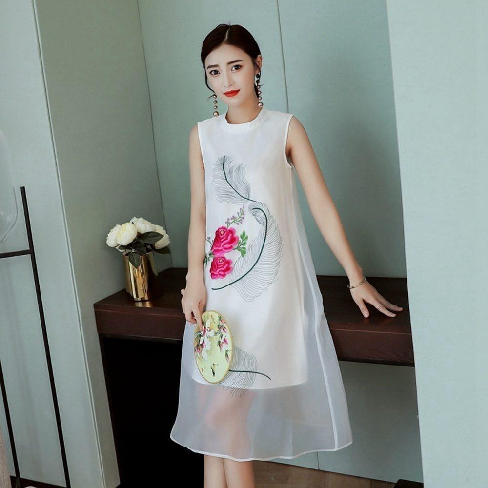 優雅女人中國風改良式印花旗袍S-3XL-REKO