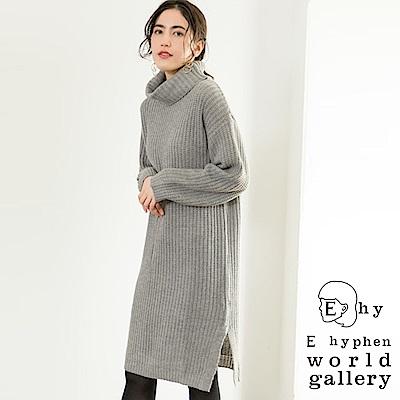 E hyphen 反褶高領針織開衩連身裙