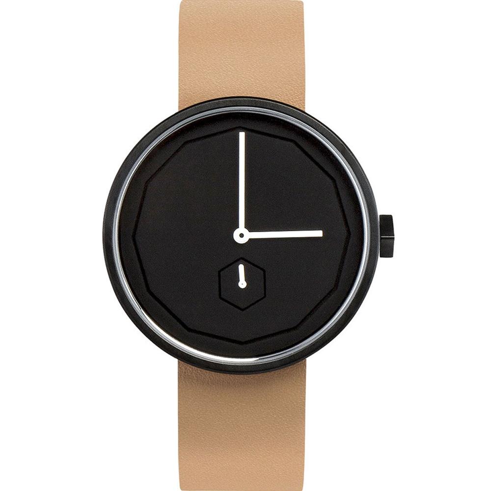 AÃRK 質感黑幾何簡約真皮革腕錶 /黑38mm