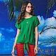 【麥雪爾】棉質圓環吊飾綁帶造型上衣-綠 product thumbnail 2