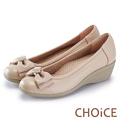 CHOiCE 舒適甜美 蝴蝶結愛心鑽飾牛皮坡跟鞋-粉色