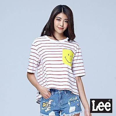 Lee X SMILEY聯名寬版條紋七分原領TEE