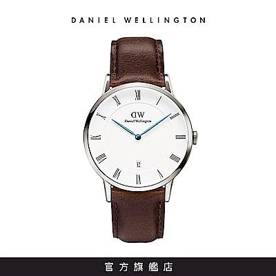 DW 手錶 官方旗艦店 38mm銀框 Dapper 深棕真皮皮革