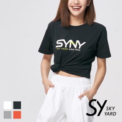 【SKY YARD 天空花園】撞色字體設計悠閒棉質上衣T恤-黑色