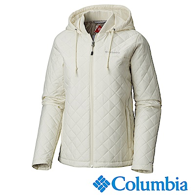 Columbia哥倫比亞 女款-Omni-HEAT保暖連帽外套-米白UWK01470