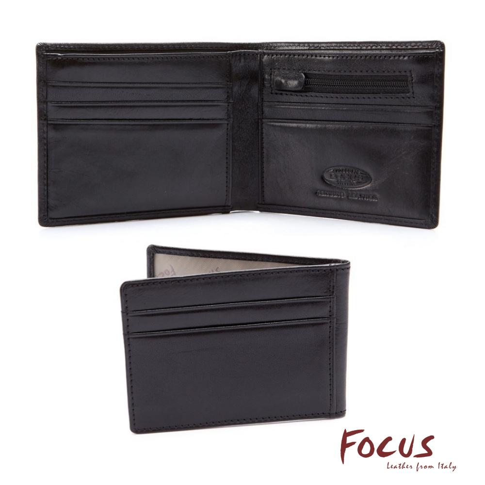 FOCUS原皮時尚黑分離式拉鏈男短夾(FGB2203)
