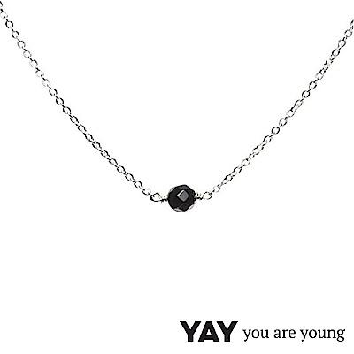 YAY You Are Young 法國品牌 Stella 黑曜石項鍊 單層款 925純銀