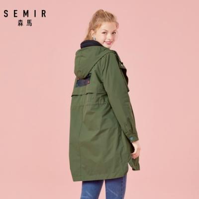 SEMIR森馬-街頭潮流布標造型長版軍裝外套-女