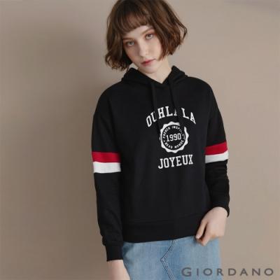 GIORDANO  女裝經典CAMPUS連帽T恤 - 12 標誌黑
