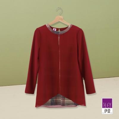 ILEY伊蕾 經典格紋雪紡層次上衣(紅)