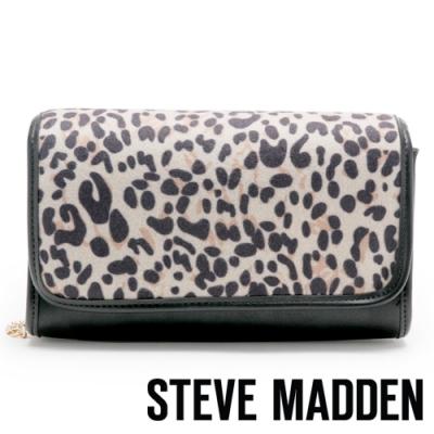 STEVE MADDEN-BSLAY 時尚異材質拼接翻蓋斜背鍊包-豹紋色