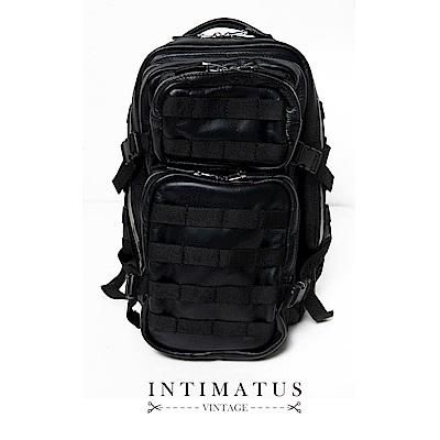 INTIMATUS 真皮 軍旅多功能 後背包 經典黑色