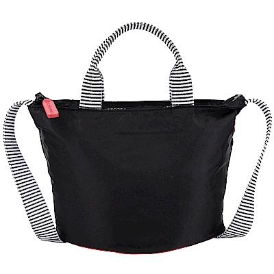 LULU GUINNESS Lola 小型 紅唇底設計尼龍手提肩背包(黑色)