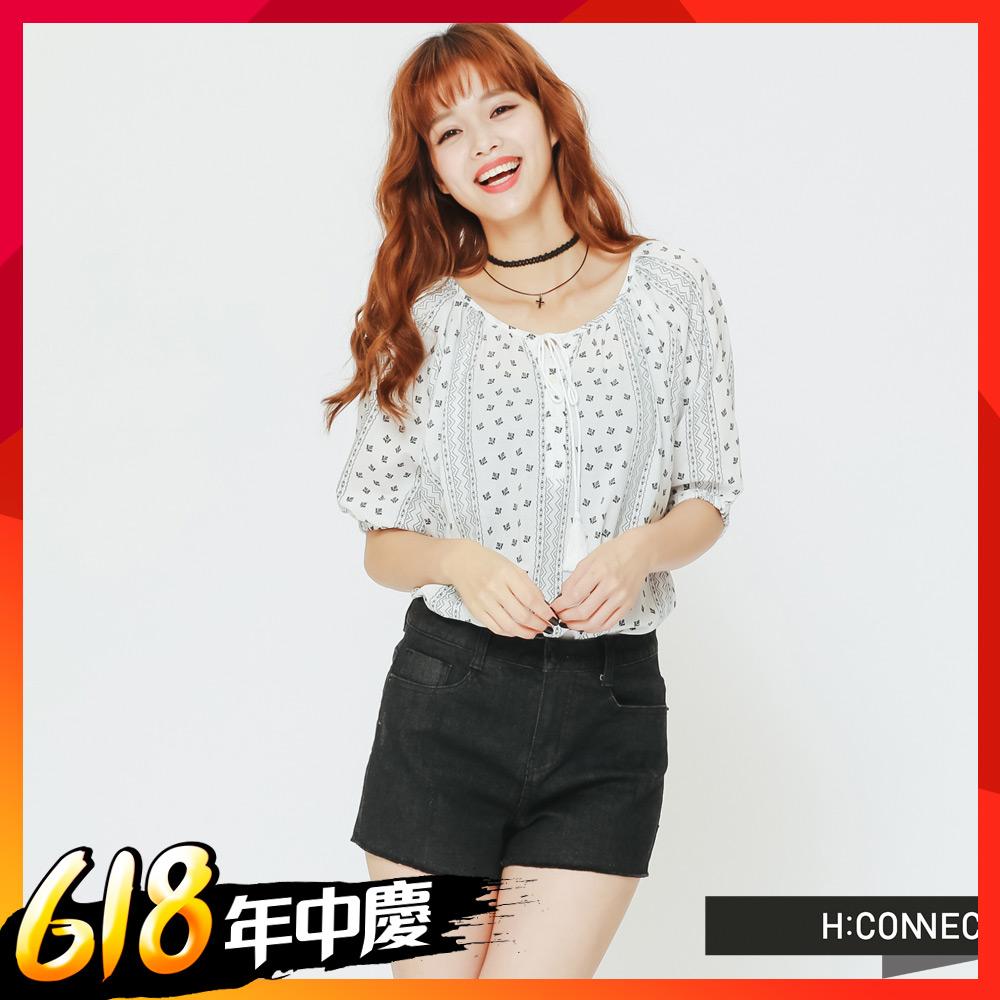 [時時樂限定]H:CONNECT 韓國品牌 女裝 - 民族風印花綁帶上衣-藍(快)