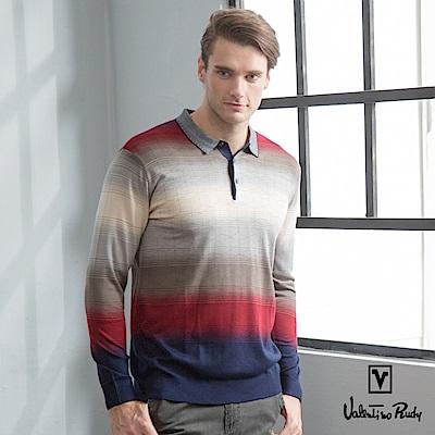 Valentino Rudy范倫鐵諾.路迪-男士精選螺紋領針織衫-紅灰漸層