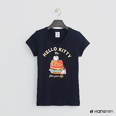 Hang Ten - 女裝 -Hello Kitty系列-零食圖樣短T-藍