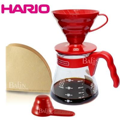 HARIO 喜氣紅 V60濾泡咖啡禮盒組(濾紙+濾杯+咖啡壺)