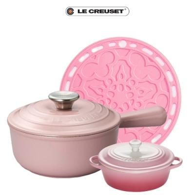 [獨家組合]LE CREUSET手柄醬汁鑄鐵鍋18cm(雪紡粉)+迷你橢圓烤盅(晨曦粉)+隔熱墊