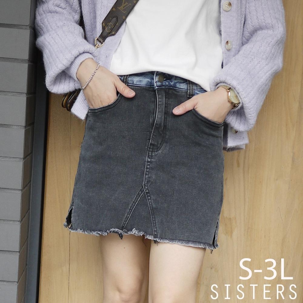 SISTERS 時髦雙色拼接刷痕抓鬚牛仔褲裙/S-3L