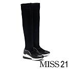 膝上靴 MISS 21 前衛科技異材質拼接運動風厚底台膝上靴-黑