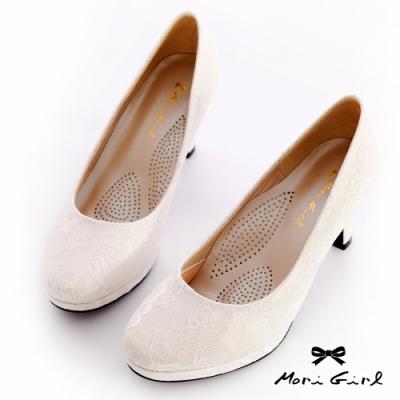 Mori girl MIT台灣製細緻蕾絲氣墊婚鞋 白