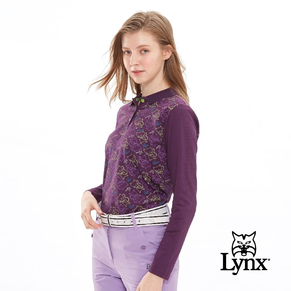 【Lynx Golf】女款吸濕排汗滿版可愛貓印花長袖POLO衫-深紫色
