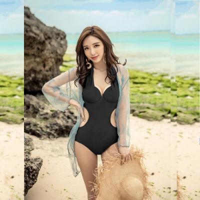 Biki比基尼妮泳衣,麗純美挖腰二件式連身泳衣附罩衫(M-XL)