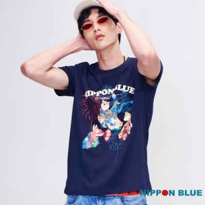 日本藍  BLUE WAY  - 犬撫琴煙花慶短TEE