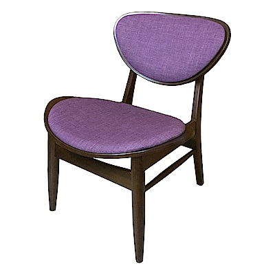 AS-Fanny胡桃色紫布面實木餐椅-59x52x71cm