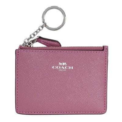 COACH乾燥紫防刮皮革後卡夾鑰匙零錢包