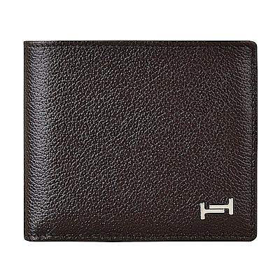 TOD S經典雙T金屬LOGO荔枝紋牛皮4卡零錢袋對折短夾(深咖啡)