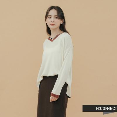 H:CONNECT 韓國品牌 女裝-雙色滾邊V領針織杉-卡其