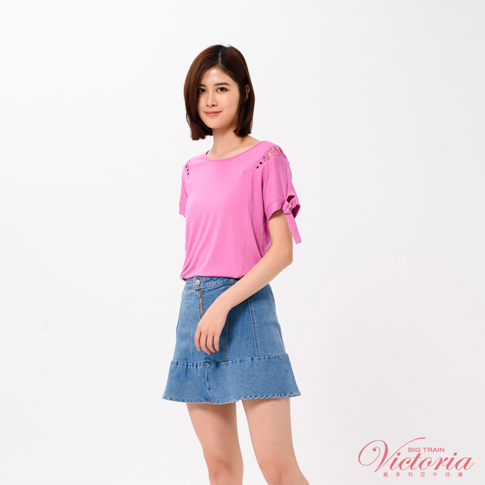 Victoria 肩露空設計中長落肩短袖T-女-粉紫