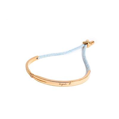 agnes b. 玫瑰金女性手環棉繩(藍)