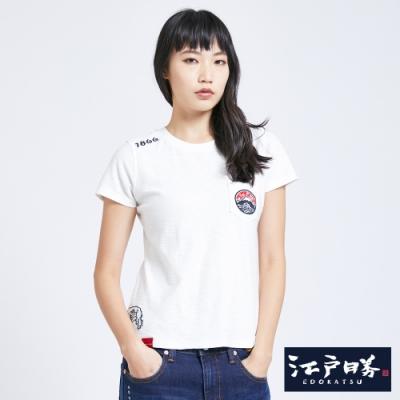 EDO KATSU江戶勝 經典LOGO口袋 短袖T恤-女-米白色