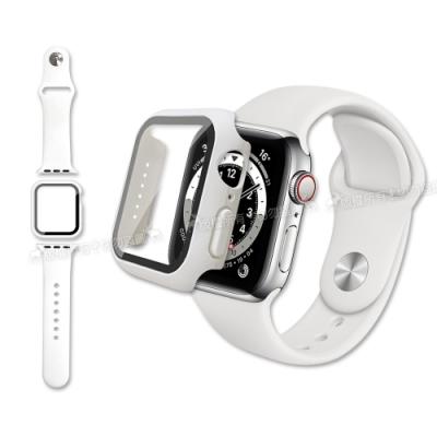 全包覆 Apple Watch Series SE/6/5/4 (44mm) 9H鋼化玻璃貼+錶殼+環保矽膠錶帶(白)