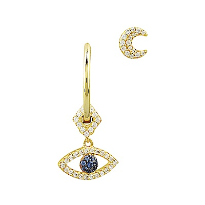 apm MONACO ETE系列晶鑽鑲飾幸運眼月亮設計不對稱純銀耳環(金)