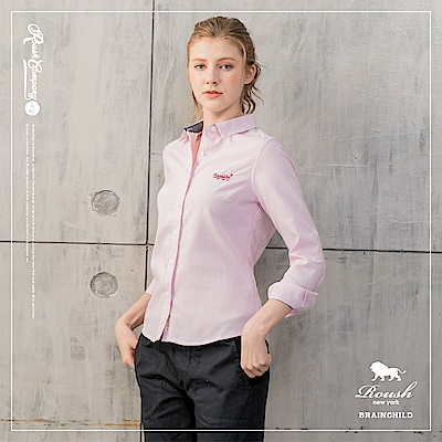 ROUSH 女生腰身版牛津布條紋襯衫( 2 色)