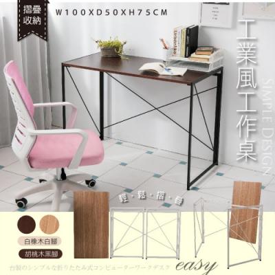 【品質嚴選】可拆式摺疊優選工業風大桌面書桌/工作桌/電腦桌書桌(2色可選)