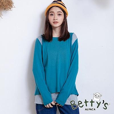 betty's貝蒂思 圓領配色假兩件針織衫(藍綠)